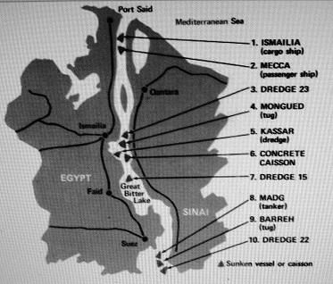 Схема затопленных египетских кораблей в Суэцком канале